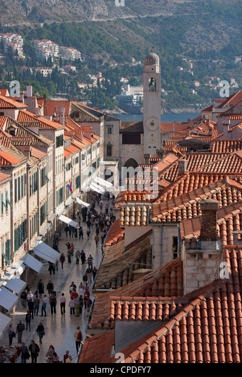 Stradun, Orlando Tower and rooftops from Dubrovnik Old Town walls, UNESCO World Heritage Site, Dubrovnik, Croatia, - Stock Image