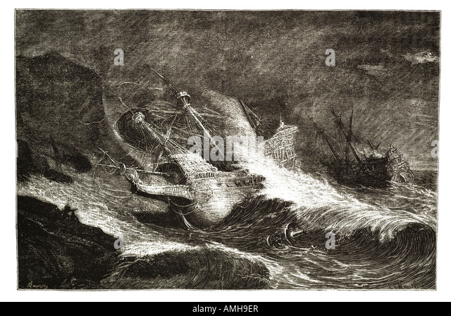 vessels armada wrecked Irish coast Ireland galleon invasion fleet disaster storm tempest wave shore wreck Spain - Stock Image