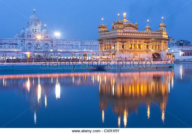 Golden temple illuminated, amritsar, india - Stock-Bilder