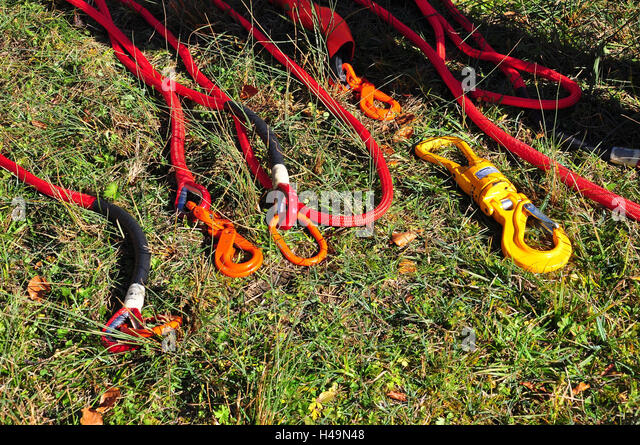 Germany, Bavaria, fire brigade, equipment, backup hook, forest fire fight, - Stock Image