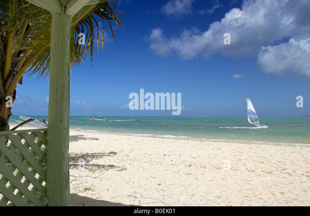 Wind Surfing At Pigeon Point Tobago - Stock Image