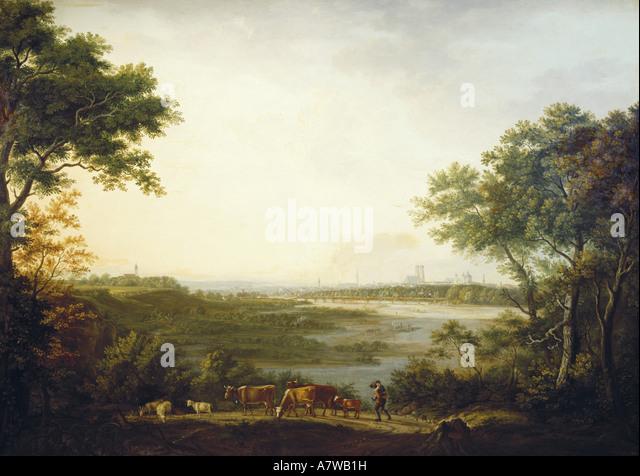 'fine arts, Dorner, Johann Jakob, the Elder (1766 - 1813), 'Ansicht von München', painting, 1806, - Stock-Bilder