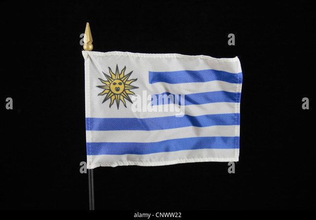 The national flag of Uruguay on a black background. - Stock Image