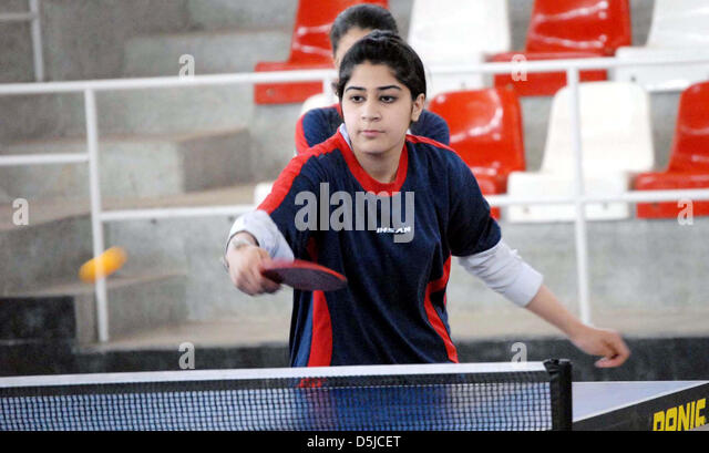 Pakistan. 3rd April 2013. College students play table tennis during Inter Rational Table Tennis Championship arranged - Stock Image