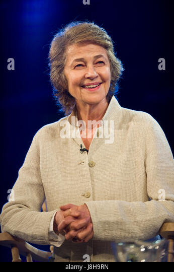 Charlotte Rampling actor talking about her acting career & writing at Hay Festival of Literature and the Arts - Stock Image