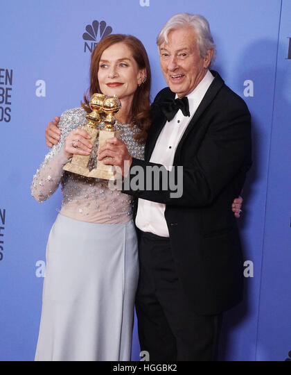 Los Angeles, USA. 08th Jan, 2017. Isabelle Huppert, Paul Verhoeven 332 Press room at the 74th Annual Golden Globe - Stock-Bilder