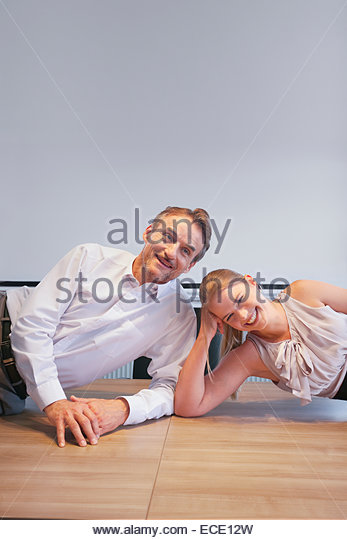 Man woman flirting romantic conference office - Stock-Bilder