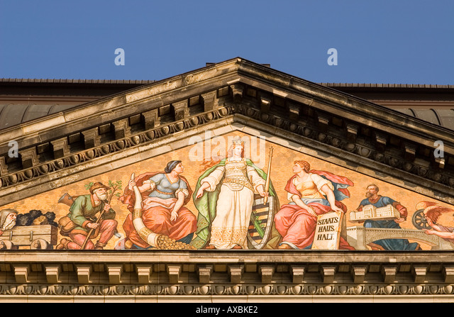DEU Dresden Koenigsufer finance ministry wall painting - Stock Image