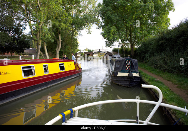 Boats on the Oxford Canal Braunston Northamptonshire Northants England UK GB narrowboat narrowboats cut English - Stock Image