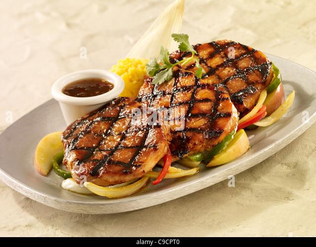Pork loin fajitias served over vegetables - Stock Image