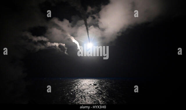 Uss Porter, At Sea. 07th Apr, 2017. The U.S. Navy Arleigh Burke-class guided-missile destroyer USS Porter launches - Stock Image