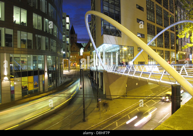London Road Bridge at dusk, Close to Piccadilly railway Station Manchester , England UK - Stock Image