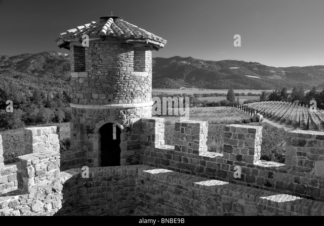 Castle turret at Castello di Amorosa. Napa Valley, California. Property relased - Stock Image