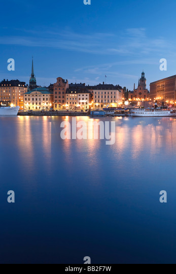 Stadsholmen Island and Gamla Stan from Skeppsholmen Bridge Stockholm Sweden - Stock Image