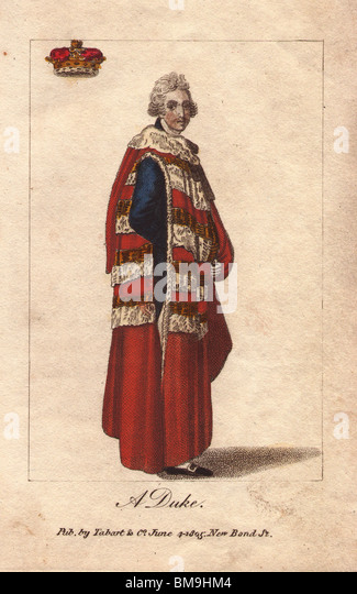 A Duke, in parliamentary robes of crimson cloth with four guards of ermine and gold lace. - Stock Image