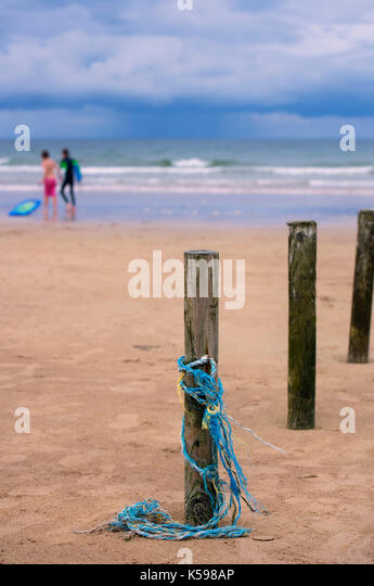 Holidaymakers at Portstewart STrand in County Antrim, Northern Ireland - Stock Image