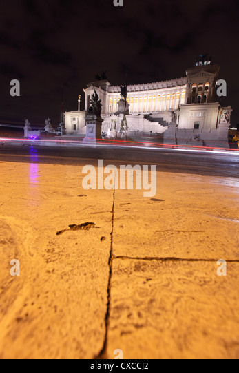 Italy, Rome, city at night, Capitoline Hill, Vittorio Emanuele II Monument, Emanuel, Viktor - Stock Image