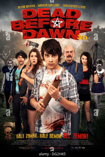 DEAD BEFORE DAWN  3D  Poster for 2012 Wango Films production with Devon Bostick at front - Stock Image