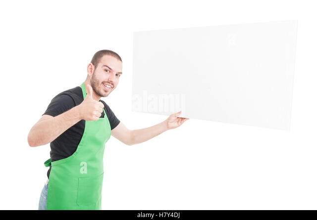 Supermarket seller showing thumb up and holding big advertising boardisolated on white background with copy text - Stock Image