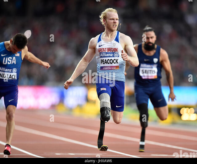London, UK. 16th July, 2017. Jonnie Peacock in Men's 100M T44 Final during World Para Athletics Championships - Stock Image