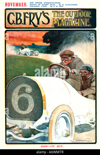 Motor Racing Frys Magazine 1905 cover illustrating the concentration of the driver and his navigator - Stock Image