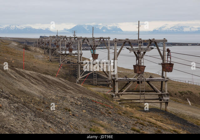Old wooden pylons still have the coal-transport carts on overhead cables - Stock Image
