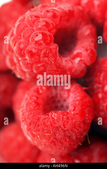 Closeup of raspberries - Stock Image