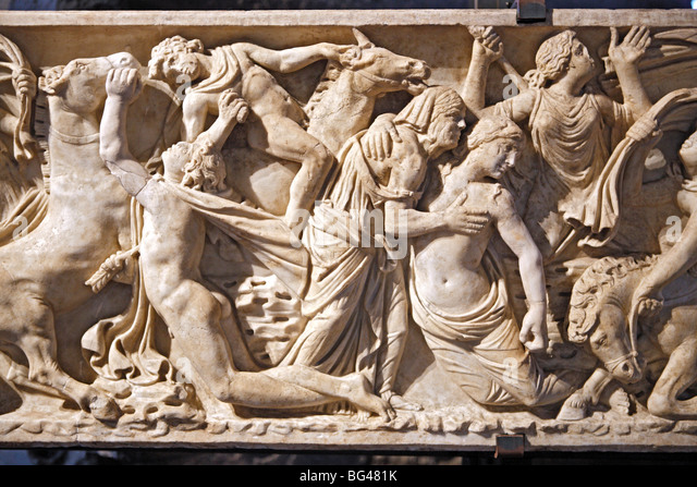 Frieze of Hellinistic sarcophagus, Colosseum, Rome, Italy - Stock Image