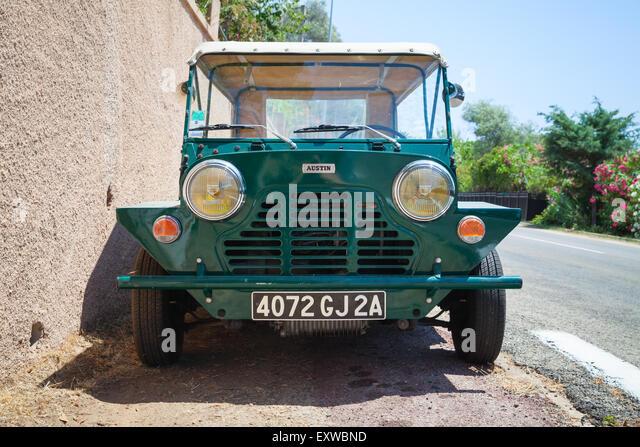 Ajaccio, France - July 7, 2015:  Austin Mini Moke 1967, vehicle based on the Mini designed for the British Motor - Stock Image