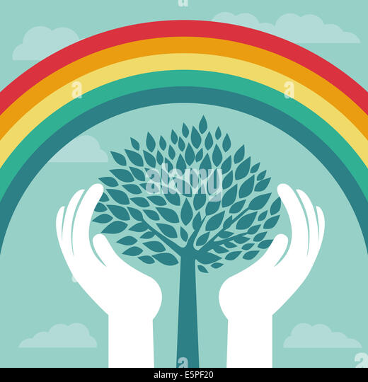 Creative concept with rainbow and human hands - abstract growth concept - Stock-Bilder