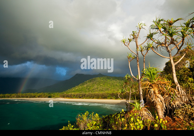 VIew of Myall Beach during morning rain storm. Cape Tribulation, Daintree National Park, Queensland, Australia - Stock Image