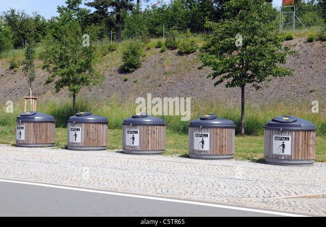 Waste management at a German autobahn - Stock Image