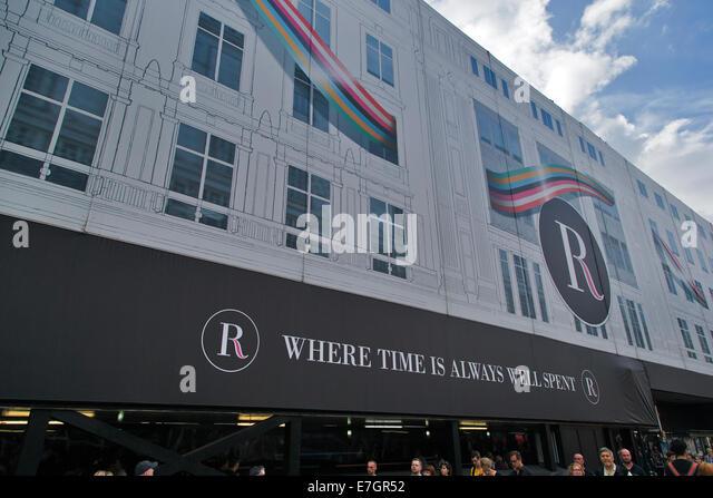 Screened buildings during refurbishment, Regent Street, London, England, UK - Stock Image
