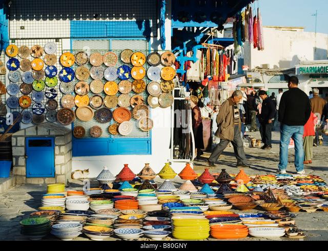 Tunisian Ceramics in the medina at Sousse, Tunisia - Stock Image