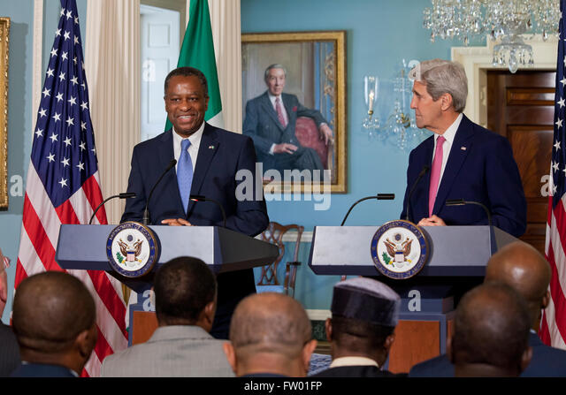 Washington DC, USA. 30th March, 2016. Secretary of State John Kerry and Nigerian Foreign Minister Geoffrey Onyeama - Stock Image