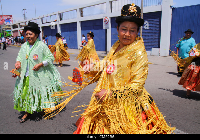 Chile Arica Avenida Pedro Montt Carnaval Andino Andean Carnival parade rehearsal indigenous Aymara heritage folklore - Stock Image