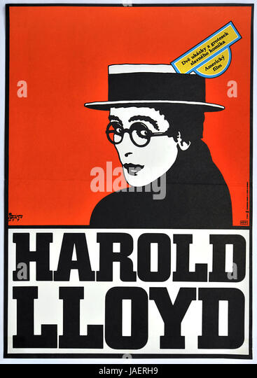 Harold Lloyd. Original Czechoslovak movie poster, 1977. - Stock Image