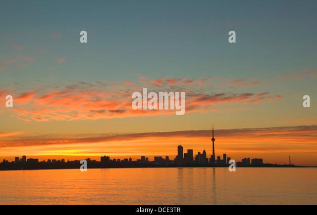 Skyline Of Toronto Against A Beautiful Sunset - Stock Image