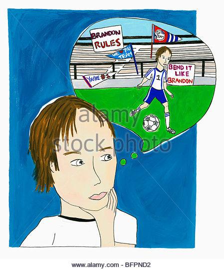 Boy Dreaming of Soccer Glory - Stock-Bilder
