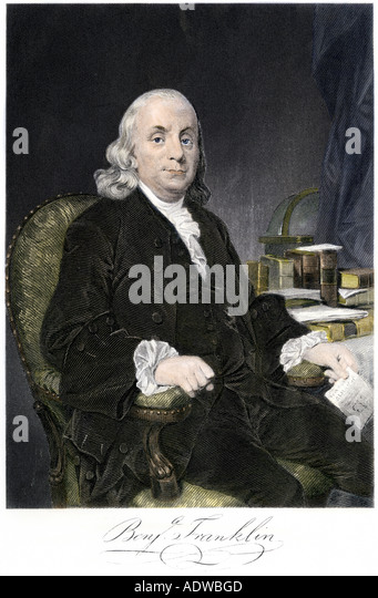 Benjamin Franklin seated with autograph - Stock Image