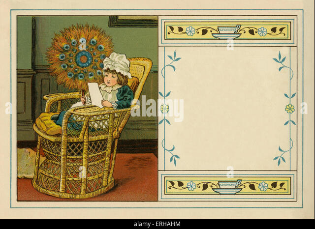 Victorian child reading in chair, holding fan constructed out of peacock feathers.  illustration by J.B. Sowerby.1881 - Stock Image