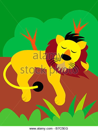 Resting Lion - Stock Image
