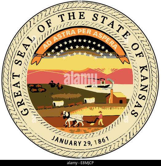 The great seal of the state of Kansas - Stock Image