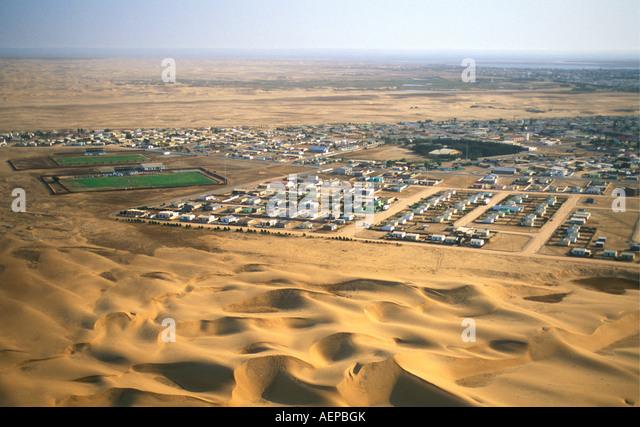Namibia Walvisbay near Swakopmund, Houses in Township, Aerial view, Namib desert - Stock-Bilder