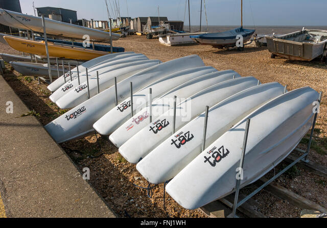 Topaz Taz Beginners Sailing Dingy Whitstable Beach Kent - Stock Image