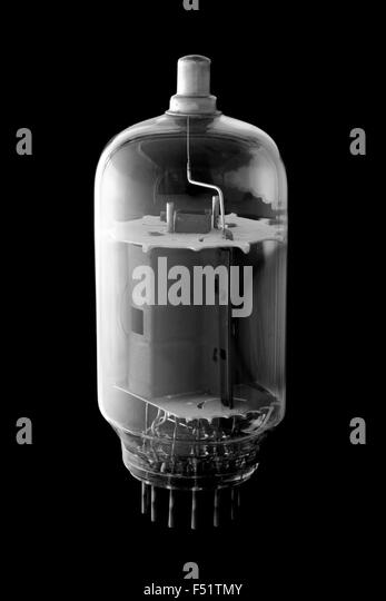 A vacuum tube - vintage electronic and radio technology. - Stock Image