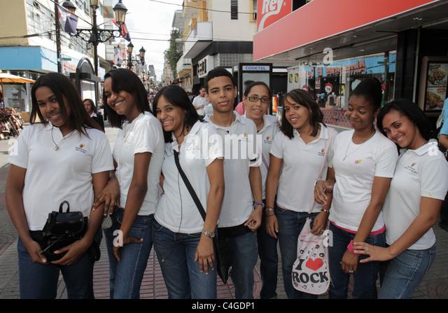 Santo Domingo Dominican Republic Ciudad Colonial Calle el Conde Peatonal Hispanic student boy girl teen group field - Stock Image
