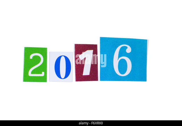 Paper Cutout 2016 Year Number Isolated on White Background - Stock-Bilder