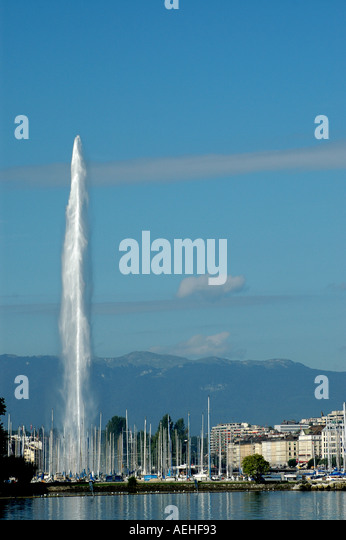 Switzerland Lake Geneva and Fountain city symbol - Stock Image