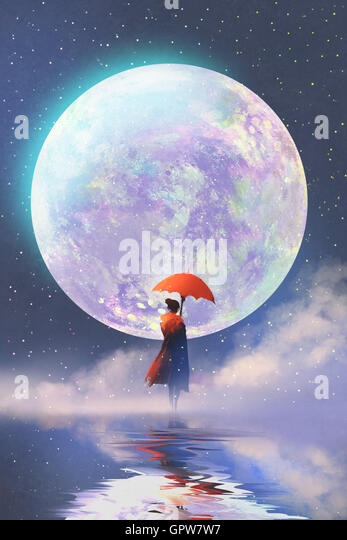 woman with red umbrella standing on water against full moon background,illustration painting - Stock-Bilder